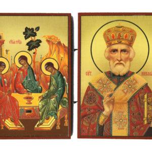 La Sainte-Trinité et Saint-Nicolas – Panneau Icône Diptyque en b