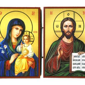 Vierge et JC – Panneau Icône Diptyque en bois