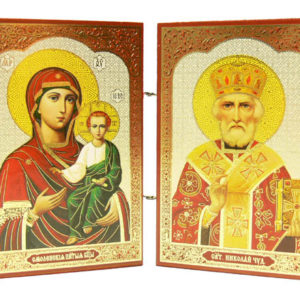 Vierge et St-Nicolas – Panneau Icône Diptyque en bois