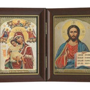 Vierge et JC – Panneau Icône Diptyque en bois (-X3-icd201)