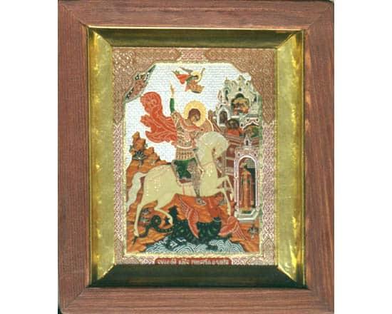 ico006 – Icône russe orthodoxe 'Archange Saint-Michel' 16×14 cm