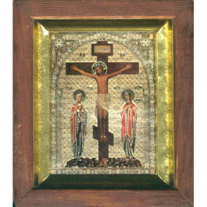 ico007 – Icône russe orthodoxe 'Raspiatie Christa' 16×14 cm