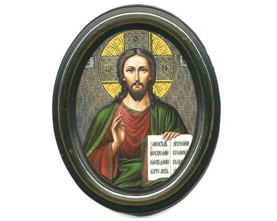 ico01 – Icône russe ovale 'Jesus Christ'