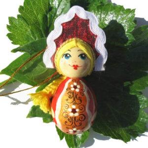 m013 – Figurine poupée russe – pour le sapin de Noël (Sarafan)