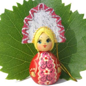 m013b – Figurine poupée russe – pour le sapin de Noël (Sarafan)