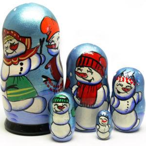 ma511 – Matriochka 'Les joyeux pères Noël russes' 5p. 17 cm