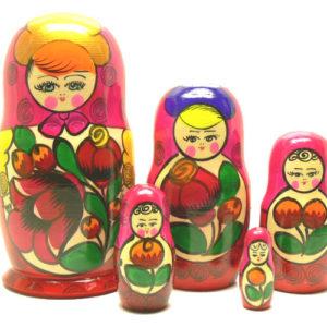 ma5630 – Matriochka / Poupée russe 5 p. – 15,5 cm (ROSE)