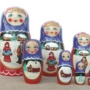 ma704 – Matriochka 'Hiver russe' – 7 pièces
