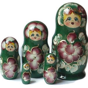 maf212 – Matriochka 'Lioudmila' verte 5 pièces – 16 cm