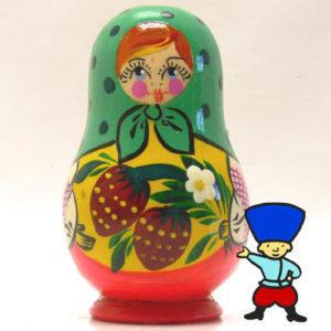 mag11D – Magnet Poupée russe aux fraises (Vert/Jaune)
