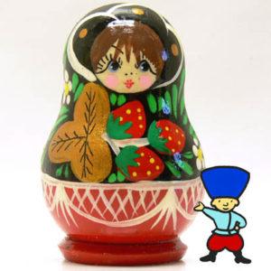 mag13A – Magnet Poupée russe aux fraises (Noir/Rouge)