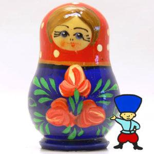 mag16A – Magnet Poupée russe et fleurs (Rouge/Bleu)