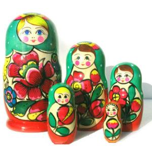 matr102 – Matriochka / Poupée russe 5 p. – 17,5 cm (VERT)