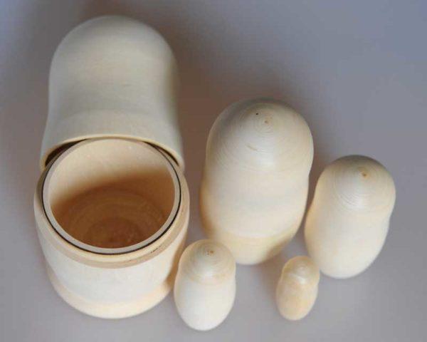 Matriochka bois naturel – 5 pièces, 18 cm (MBN04)