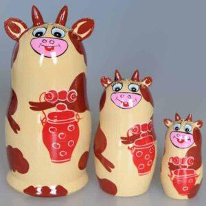 "Matriochka Vache ""Korova"" 3 pièces, 14cm (XO22-03)"
