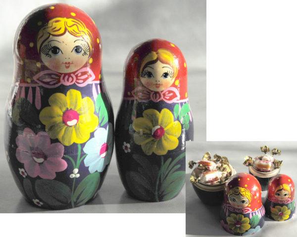 Matriochkas pour bonbons ou dragées, 2 pièces (K3MBO-02)