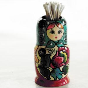 Boite matriochka pour coton tiges (bleu)