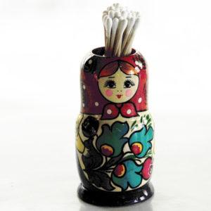 Boite matriochka pour coton tiges (rouge)