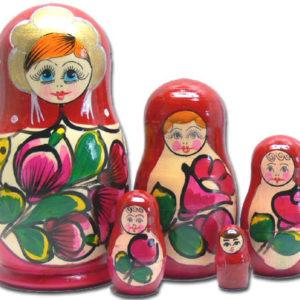 mc02 – Matriochka / Poupée russe 5 pièces (ROUGE)