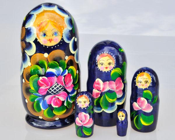 Matriochka Traditionnelle 5 pièces – 16 cm BLEU FONCE (CI3-02)
