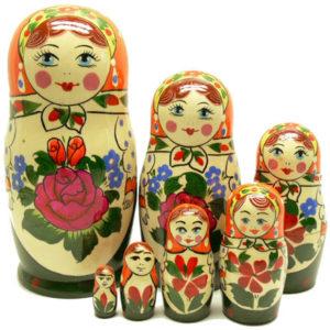Matriochka 'Semenov' verte 7 pièces (MSV107)