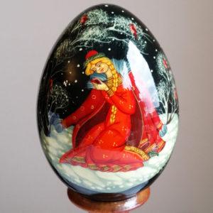 Oeuf en bois peint de Palekh – Conte russe (FB-OE043)