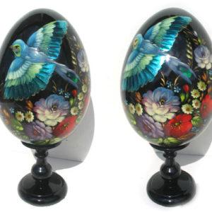 oa139 – Oeuf en bois peint – Oiseau bleu
