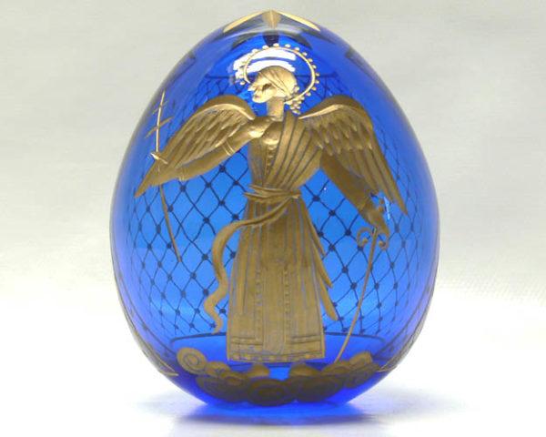 oec608 – Oeuf style Fabergé ange orthodoxe – bleu