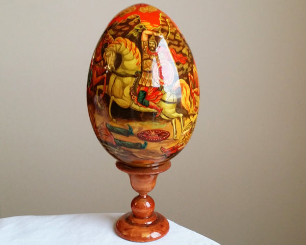 Oeuf en bois peint 'Koulikovo' 13 cm (FA-OE390907)