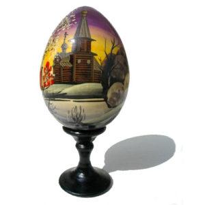 Oeuf en bois peint 'Eglise russe' 9 cm (FD-OE201)