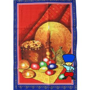 Le carré de tissu 'La Paque orthodoxe aux oeufs' rouge 45×75 cm