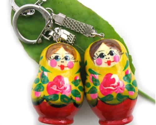 pc11 – Matriochka porte-clé jaune 'Rosa'