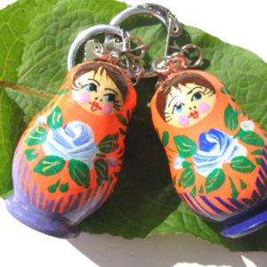 pc06a – Matriochka porte-clé orange-verte 'Sadik'
