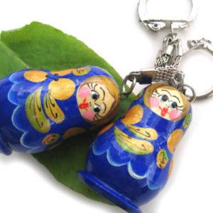 pc10a – Matriochka porte-clé bleu 'Beauté russe'