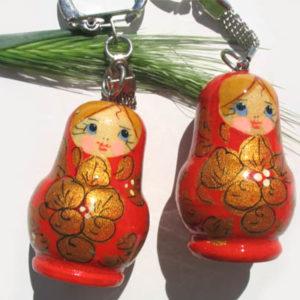 pc10c – Matriochka porte-clé rouge 'Beauté russe'